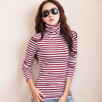 Wholesale Turtleneck Tops For Women - New 2017 T-shirts For Women Turtleneck Long Sleeve T Shirt Striped Cotton Bottoming Shirt Poleras Mujer Winter Tops Tees