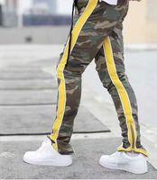 deus amarelo venda por atacado-18 Novo Medo De Deus Moletom Laranja Amarelo Zip Pista FOG Sweatpants Streetwear Oversize Com Cordão Corredores Fear Of God Sweatpan