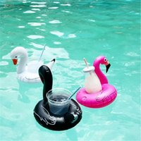 Wholesale bathing items - Swan Inflatable Cup Holder 3 Colors Floating Inflatable Drink Holder Swimming Pool Bathing Beach Party Supplies Inflatable Coaster