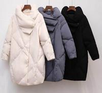 rodilla hasta abajo abrigos al por mayor-Duck Down Coat Mujer Ropa de invierno 2018 Chaqueta femenina de alta calidad hasta la rodilla Vintage Down Jacket para mujeres abrigo de Parka