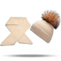 toplar koruyucusu toptan satış-Kaşmir Şapka Moda Vizon Saç Topu Kap Lady çocuk Güzel sonbahar Kış Kulak Koruyucular Şapka Ve Eşarp ÇOCUK Gençler Çocuklar WangXiaYing