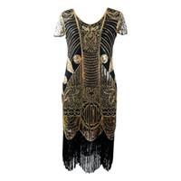 vestidos casuales de inspiración vintage al por mayor-Vintage mujer 1920s inspirado Flapper Gatsby vestido Art Deco doble V cuello sin mangas Bodycon bordado de lentejuelas con cuentas vestido de flecos