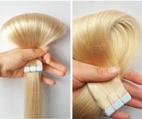 ingrosso estensioni dei capelli indiani del platino-50g 20pcs nastro in trama di pelle di estensioni dei capelli umani 20 22 24 pollici # 60 nastro di platino bionda indiana brasiliana nelle estensioni dei capelli