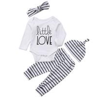 головной убор для девочек оптовых-Newborn Baby Boys Girls Long Sleeve little love Romper Tops+ Striped Pant Hat Headband Outfit Clothes