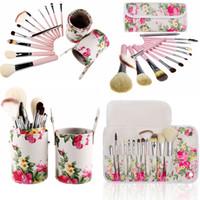 ingrosso spazzole bianche di trucco dei caprini-Pennelli per trucco a fiore rosa bianca 12 pezzi Set di pennelli per fondotinta in polvere per capra Pennelli per trucco multiuso con astuccio o portabicchiere