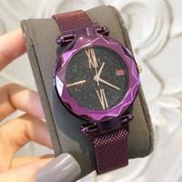 barco imán al por mayor-2018 Mujeres de Marca Relojes de Moda de Lujo de Acero Famoso Diseño Relojes De Marca Mujer Vestido de Mujer Reloj de Imán hebilla de Color Púrpura Envío gratis