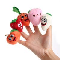 marionetas de frutas vegetales al por mayor-10 piezas de dibujos animados verduras fruta dedo marioneta juguete educativo mano marioneta juguete