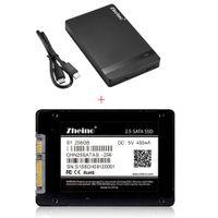 2.5 sata ssd toptan satış-Zheino Sıcak S1 2.5 SATA USB ile 256 GB SSD interna Katı Disk Sürücüler C-C Harici Sabit Disk Muhafaza HDD SSD vaka
