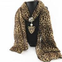 Wholesale pendant scarfs - Autumn and Winter Fashion Rhinestone Leopard Head Pendant Leopard Scarf Necklace For Women New Neckerchief Scarves Jewelry
