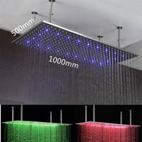 Wholesale Hydro Steel - Bathroom 3 Colors Led Shower head 500*1000mm rectangular hydro power led light rain shower head sus rainfall