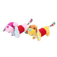 ingrosso portachiavi acustico animale-Bambola farcita peluche animali cane bambola peluche forma suono interattivo Squeaky Soft Baby Bambini Kawaii Mini Keychain