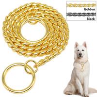 Wholesale chrome metal chains - Snake Chain Dog Training Collar Pet Show Collar Heavy Duty Metal Chain P Choke Collars Strong Chrome Gold Black 3mm 4mm 5mm