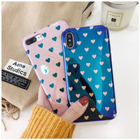Wholesale Cover Phone Korean Style - Gorgeous Blue-ray TPU Soft Cover Cases Korean style Heart Pattern Phone Case for iPhone 6 6S Plus 7 8 X