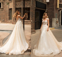 Wholesale Bridal Wedding Wear - Champagne Elegant Capped Sleeves Wedding Dresses 2018 Sheer Neck Illusion Bodices Lace Appliqued Country Bridal Gowns Vintage Wedding Wear