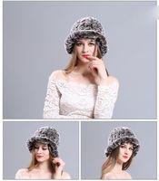 knitted rex rabbit fur hat 2018 - Winter Rex Fur Hat Ladies Warm Rabbit Fur Knit Hat for Ladies Elegant Beanies Warm Snow Hat Brim Hats