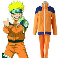 Wholesale Free Naruto Games - Japanese Anime Naruto Cosplay Costume Adult Cosplay Naruto Uzumaki Costume For Party Fighing Uniform with Headband Free Shipping