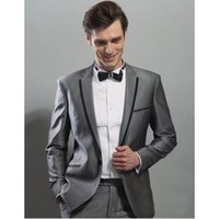 Wholesale groom suits for sale - Black Edge Jacket As Groom Tuxedos Hot Sale Groomsman Suit Wedding suit Custom Made Man Suit for Man Clothes (Jacket +pants)