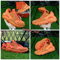 Wholesale Chi Flat - 2018 Huarache Run QS NYC Orange Huaraches CHI Chicago Orange Zipper Black Knight Casual Shoes best quality Men Women Sports Sneakers 36-45