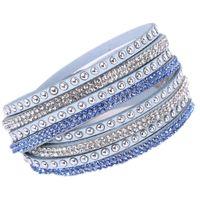eingewickelte kette großhandel-Heißer Bohrer-Armreif für Mädchen / Frauen Geschenk handgefertigte Samt Armband mit Bling Strass Wrap Lederarmband