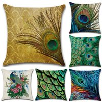 Wholesale throw pillows feather print - Beautiful Peacock and Feathers Pillowcases Cotton Linen Pillow Covers Throw Pillow Case Cushion Square for Home Bed Sofa Deco 18 *18Inch