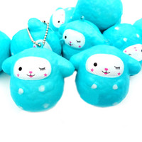 Wholesale Sheep Small - Squishy Cartoon Sheep Blue Slow Rising Sheep Pendant Squeeze Cute Cell Phone Strap Small Animal Doll Funny Kids Toy AAA142