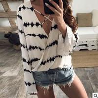 Discount cross print chiffon shirts - Summer fashion women T-shirts tees Irregular striped zebra print chiffon V-neck top White cross sling T-shirt