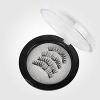 Wholesale Natural Eyelash Glue - 4Pcs set 3D Three Magnets Magnetic Natural Beauty No Glue Reusable Fake Eye Lashes Eyelashes Magnetic Eye Lashes Extension Handmade
