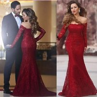 Wholesale nude boat neck - Formal Red Lace Mermaid Evening Dresses 2018 Designer Boat Neck Long Sleeve Long Prom Gowns Cheap Lace Evening Dress