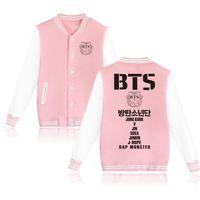 sudaderas rosa para niños al por mayor-BTS Kpop Bangtan Boys Baseball Uniform Jacket Coat Mujeres Harajuku Sudaderas Winter Fashion Hip Hop Album Pink Hoodie Outwear