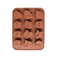 modelos de búho al por mayor-12 Incluso Multilist Lovely Owl Silicone Gel Chocolates Modelo Eagles Meeting para hornear herramientas para pasteles