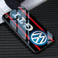 gti kapağı toptan satış-iphone 11 PRO MAX X XR XS MAX 7 6 6S 8 artı vakalar araba logosu kapaklar için Ücretsiz Gönderim lüks TPU Temperlenmiş Golf GTI logosu Telefon Kılıfı