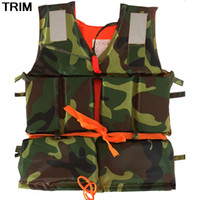 Wholesale camo vests for men resale online - Camo Survival Boat Sail Life Vest Kayak Swim Working Bubble Jackets Bathing Suit Lifesaving With Whistle Life Jacket For Adult