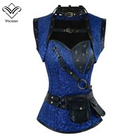 сексуальные женские винтажные корсеты оптовых-Wechery Steampunk Corset Sexy Rivet Retro Punk Blue Women Corsets High Quality Vintage Posture Cosplay Show Gorset Sets Tops