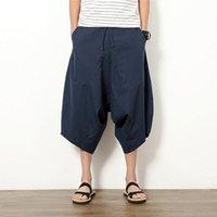 pantalon large à l'entrejambe achat en gros de-Hommes Large Entrejambe Sarouel Pantalon Lâche Eté Grand Pantalon Coupé Bloomers Style Chinois Lin Baggy