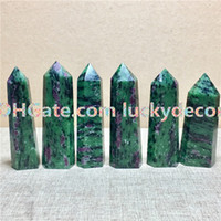 Wholesale crystal magic wands - 5Pcs Impressive Ruby in Zoisite Wand Natural Faceted Dt Healing Magic Crystal Point Anyolite Mineral Metaphysical Stone of Joy & Prosperity