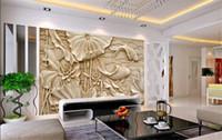 резьба по дереву рыбы оптовых-Поддельные резьба по дереву рельефные картины новый классический китайский большой фрески 3D стерео обои гостиная ТВ фон стены рыбы лотоса
