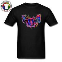 leopar desenli mens tişört toptan satış-Renkli Bakışları Leopar Göz T Shirt Baskı Lüks Moda Artı Boyutu Kazak Mens Serin Vintage Hayvan Beast Tshirt Siyah Beyaz
