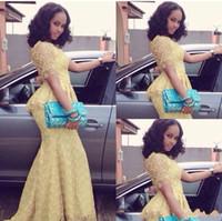 vestidos de baile de formatura amarelos de sereia venda por atacado-Africano 2018 Moda Vestido Longo O Pescoço Manga Curta Sereia Até O Chão vestido de baile Amarelo Rendas Elegante Estilo Nigéria Vestidos