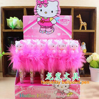 Wholesale Dolls Kitty - 36pcs lot blue ink color ballpoint pen hello Kitty doll plush cute cartoon LED lighting girls love gift prize writing pen