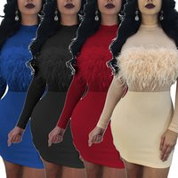 Wholesale Designer Bandage Dresses - 2018 New Designer Feather Women Party Dresses Fashion High Neck See Through Long Sleeves Sexy Short Bandage Dress High Quality S--2XL