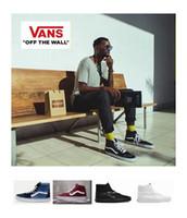 Wholesale white hi tops shoes - Vans Old Skool high top SK8-Hi Men Womens Canvas Casual Shoes, Classical White Black Skateboard Sport Sneakers Eur 36-44