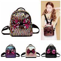 Wholesale wall ties online - Women Sequins Bow Tie Backpacks Colors Teenage Girls Travel Mini School Bags Shoulder Bag Storage Bags OOA5416