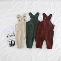 bebek kız düşer toptan satış-Bebek Çocuk Kadife Askı Pantolon Güz 2018 Çocuk Butik Giyim Kore 1-4 T Küçük Erkek Kız Düz Renk tulum
