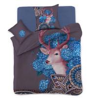 Wholesale deer bedding queen - Lovely Deer Quilt Doona Duvet Cover Set Single Queen King Size Bed Covers Set Linen Free Shipping