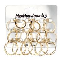 Wholesale long metal wholesale fashion earrings - 9 Pair Set Women Hoop Metal Round Earrings Set Big Circle Ear Fashion Jewelry Long Diameter Hoop Earrings for Women Earrings Set H143R