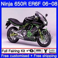 kit corps er6 f achat en gros de-Corps pour KAWASAKI NINJA 650R ER6 F 650 ER6F 06 07 08 haut noir 204HM.23 Ninja650R Vert brillant ER-6F 06-08 ER 6F 2006 2007 2008 Kit de carénages