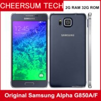 Wholesale Original Android Os - Original Samsung Galaxy Alpha G850A G850F LTE Cellphones Quad Core 4.7'' Android OS 2GB 32GB NFC GPS 12MP Refurbished Smartphone