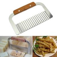 Wholesale shredded slicer resale online - Potato Cutter Cut Silk Wave Knife Shredding Chips Slicer Chopper French fries knife Stainless Steel Shredders Vegetable Fruit Tools AAA881