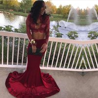 Wholesale red hot velvet - Hot Sell Burgundy Velvet Long Sleeves Prom Dresses Sexy African Illusion Appliques Sequins Arabic Evening Gowns Keyhole Neck BA7708