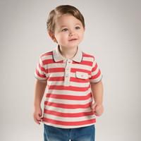 portakal boys gömlek toptan satış-Marka Çocuk Erkek Giyim Çocuk Erkek Bebek Rahat Polo Gömlek Kısa Kollu Toddler Çocuk Yaz Polo Gömlek Pamuk turuncu Çizgili